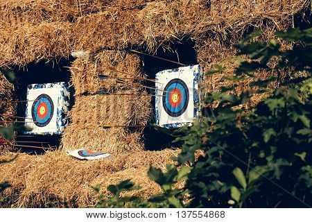 Archery Targets With Arrows