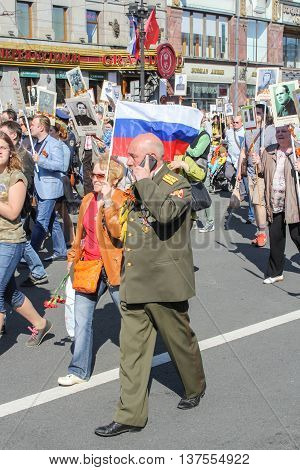 St. Petersburg, Russia - 9 May, Pair with a flag, 9 May, 2016. Memory Action