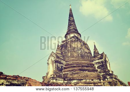 The old pagoda in the historical park, Thailand. this place is the old capital city and appointed to be a world heritage.