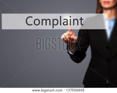 Complaint - Successful Businesswoman Making Use Of Innovative Technologies And Finger Pressing Butto