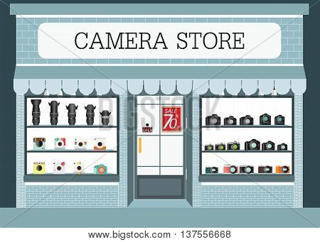 Camera store building and interior with products on shelves digital camera lens and Vintage professional photo camera vector illustration.