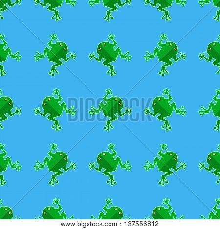 Seamless Cartoon Frog Pattern. Animal Blue Background