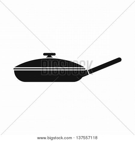 Black frying pan with white lid icon in simple style isolated vector illustration