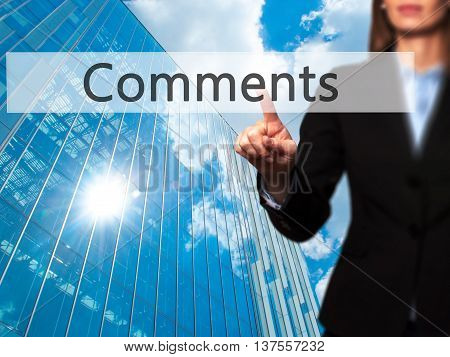 Comments - Successful Businesswoman Making Use Of Innovative Technologies And Finger Pressing Button