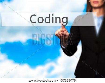 Coding - Successful Businesswoman Making Use Of Innovative Technologies And Finger Pressing Button.