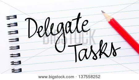 Delegate Tasks Written On Notebook Page