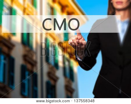 Cmo - Successful Businesswoman Making Use Of Innovative Technologies And Finger Pressing Button.