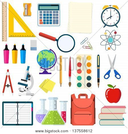 School and education workplace items. Vector flat illustration of school supplies. Isolated school, education workspace accessories on white background. Infographic elements for web, presentation.
