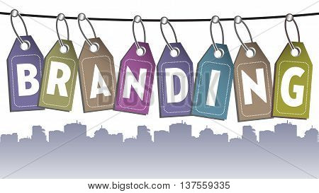 The word branding made from more tags hanging on a wire