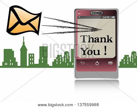 Colorful illustration with a cellphone sending a thank you message