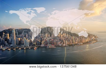 World Global Cartography Globalization hongkong island background (Elements of this image furnished by NASA)