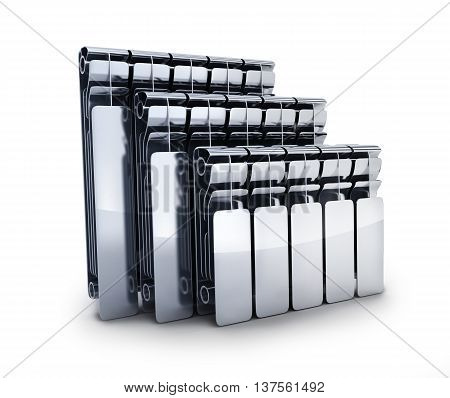 Three radiators on white background (done in 3d rendering)