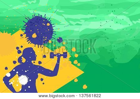 Young woman training with dumbbells on the brazil flag colors background fithess motivation concept vector illustration