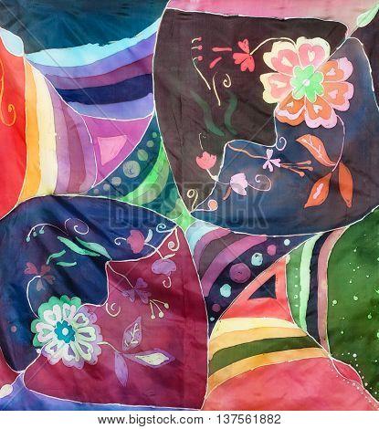 Silk Headscarf In The Technique Of Hot Batik