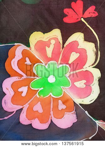 Painted Flower On Silk Fabric
