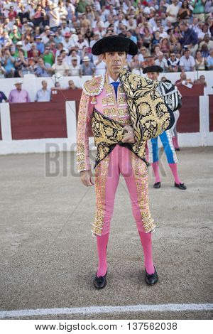 Linares SPAIN - August 29 2014: The Spanish Bullfighter Jose Tomas initiating the paseíllo in the bullring in Linares Jaen province Spain