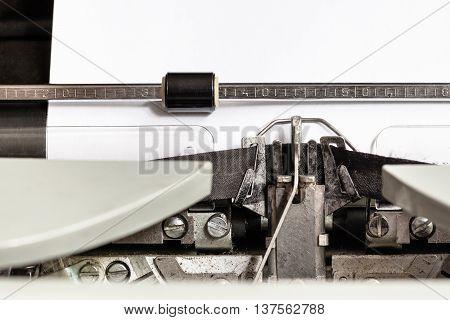 Typebar Types Ink Ribbon In Mechanical Typewriter