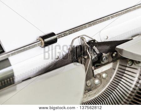 Side View Of Typebar Types Ribbon In Typewriter
