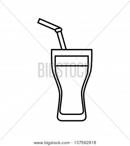 Soda and drink  concept represented by drinking straw inside glass icon. isolated and flat illustration