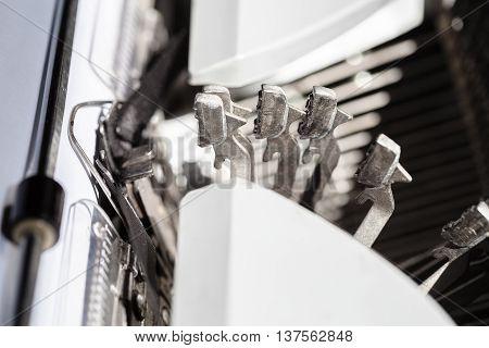 Typebars Operates During Printing On Typewriter