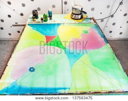 Silk Fabric With First Layer Of Paints