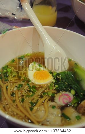 Hot Japanese ramen in bowl eating healthy