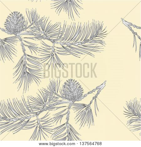Seamless texture branch Pine and pine cone as vintage engraving natural background vector illustration