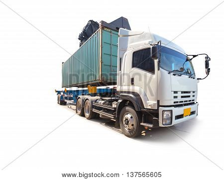 forklift car moving container box with truck isolated on white background