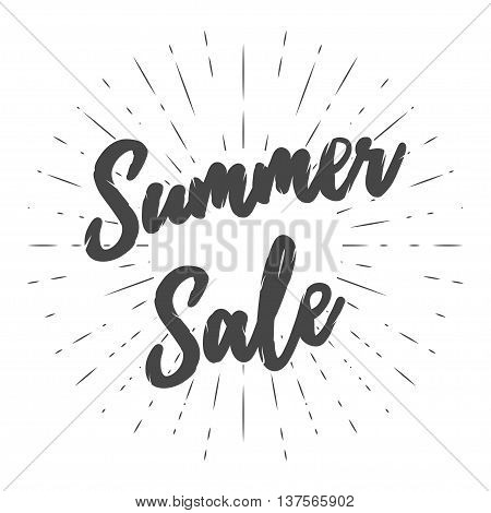 Vector summer sale banner. Seasonal sale template. Clearance or closeout vector illustration with sun rays. Isolated on white.