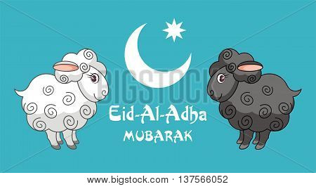 Eid al-Adha greeting card with the image of the sacrificial lamb and Crescent