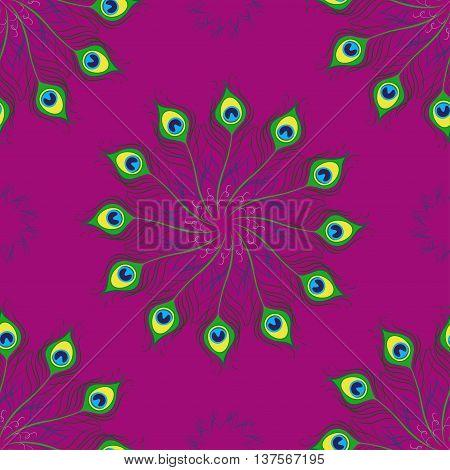 Seamless pattern of peacock feathers . Mandala. Vector illustration