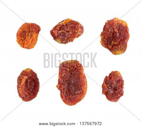 Closeup Dried tomatoes isolated on white background