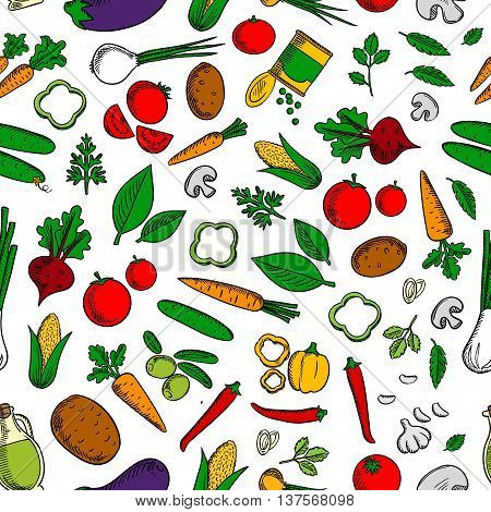 Vegetable salad ingredients background with seamless pattern of tomatoes, olives and onions, carrots, beetroots and corn cobs, peppers, cucumbers and eggplants, potatoes, mushrooms and garlic, canned green peas, olive oil and spicy herbs