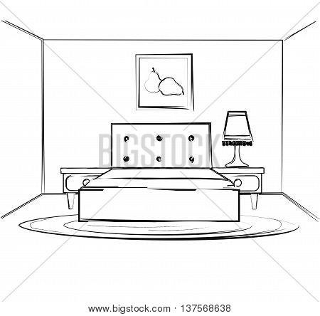Linear sketch of an interior. Room plan. Sketch Line bedrooms. Vector illustration