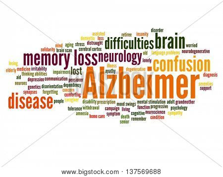 Concept conceptual Alzheimer`s disease symtoms abstract word cloud isolated on background