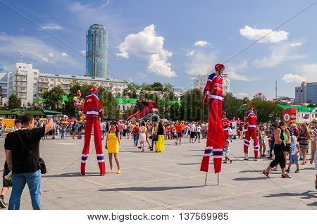 YEKATERINBURG RUSSIA - AUGUST 17 2013. People having fun on City Day celebrations in Yekaterinburg on August 17 2013.