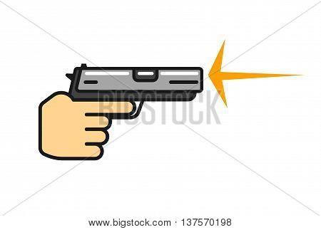 Hand holding gun shooting vector, flat cartoon outline pistol in hand