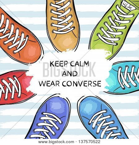 Summer trendy sports shoes. Feet in sports shoes sneakers. Vector illustration