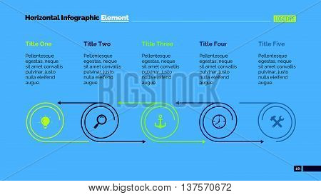 Five parts cycle diagram. Element of brochure, presentation, chart. Concept for business infographics, presentation templates, reports. Can be used for topics like strategy, flowchart, marketing