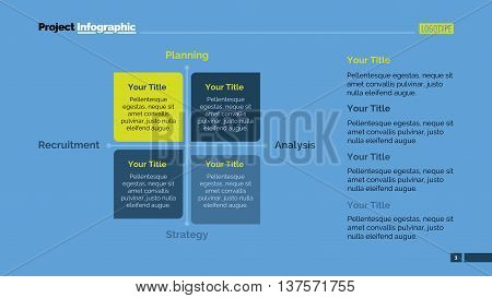 Four side matrix diagram. Element of presentation, chart, business strategy. Concept for infographics, business templates, reports. Can be used for topics like analysis, business strategy, management