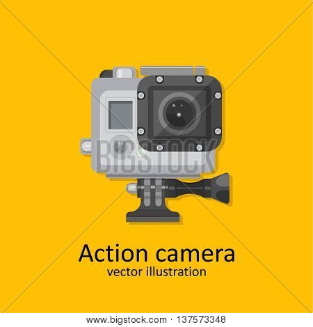 Realistic icon of action camera for video and photographing. A vector illustration in flat style.