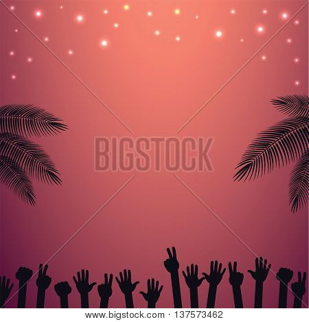 Night Party beach vector background with raised hands dancing. For flyer with text space