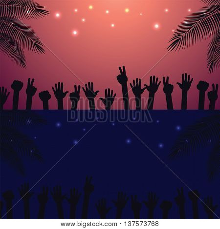 Night and Sunrise Party beach vector background with raised hands dancing.