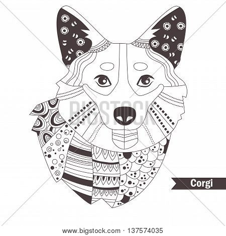 Corgi. Coloring book for adult, antistress coloring pages. Hand drawn vector isolated illustration on white background. Henna mehendi, tattoo sketch