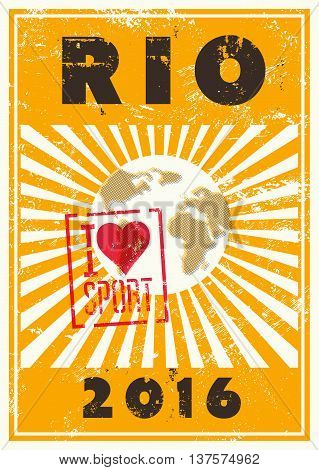 Rio 2016 sport games typographic vintage grunge style poster. Retro vector illustration.