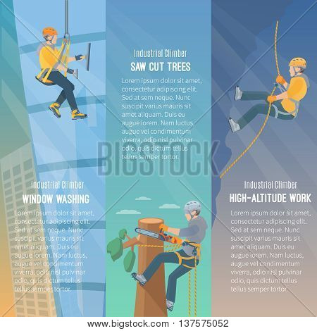 Color information vertical flat banners showing the need  for industrial climbing window washing cut trees high-altitude work vector illustration