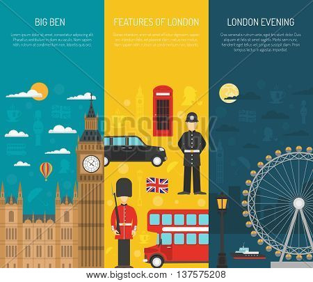 London visitors sightseeing attractions with night thames river 3 vertical flat banners set abstract isolated vector illustration