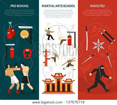 Martial arts vertical banners set with ninja edged weapon chinese temple combat training boxing isolated vector illustration