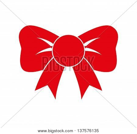 red ribbon concept represented by bowtie icon. Isolated and flat illustration