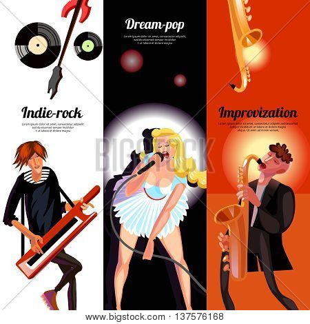 Indie rock dream pop and improvisation vertical bookmarks like banners drawn in cartoon style vector illustration